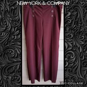 NY&Co Wide-leg Palazzo Dress Pants w/Button Detail